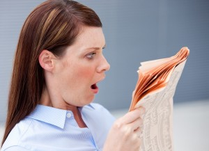 Inside Magic Image of Attractive Reader Showing Shock at Finding Republished Magic Stories