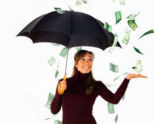 Inside Magic Image of Woman in Magic Money Rainstorm