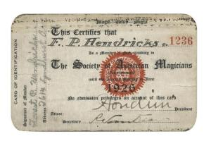 Houdini Signed SAM Membership Card