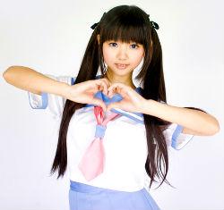 Inside Magic Image of Japanese Gravure Idol Showing Heart Hand Symbol
